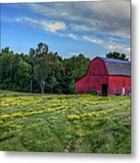 Red Barn In A Yellow Field  Metal Print