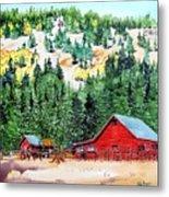 Red Barn In Autumn Metal Print