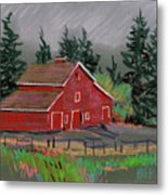 Red Barn In La Honda Metal Print
