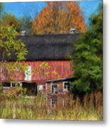 Red Barn In October Metal Print