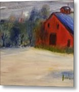Red Barn In Snow  Metal Print by Steve Jorde
