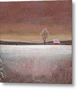 Red Barn In Snow Metal Print