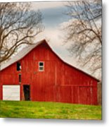 Red Barn In The Blue Sky Metal Print