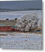 Red Barn In Winter Metal Print