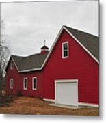 Red Barn On A Grey Day Metal Print