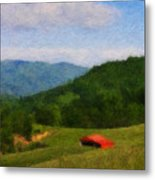 Red Barn On The Mountain Metal Print