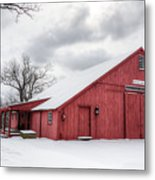 Red Barn On Wintry Day Metal Print