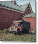 Red Barn Red Truck Metal Print