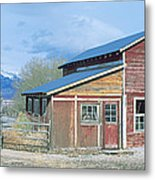Red Barn, Route 50, Nevada Metal Print
