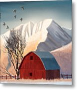 Red Barn Snow Western - Countryside Painting Metal Print