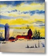 Red Barn Sunrise Metal Print