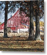 Red Barn Through The Trees Metal Print