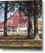 Red Barn Through The Trees Metal Print by Pamela Baker