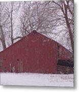 Red Barn Trees Snow Metal Print