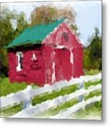 Red Barn Vermont Watercolor Metal Print