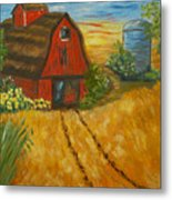 Red Barn- Wheat Field- Down Home Metal Print