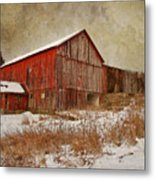 Red Barn White Snow Metal Print by Larry Marshall