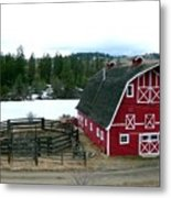 Red Barn Metal Print by Will Borden