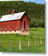 Red Barn With Cupola Metal Print