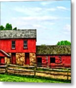 Red Barn With Fence Metal Print