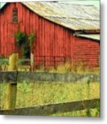 Red Barn With Vines Metal Print