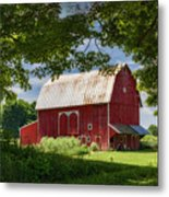Red Barn With White Arched Door Trim Metal Print