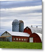Red Barns Of 3 Metal Print