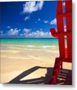 Red Beach Chair Metal Print