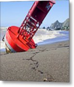 Red Bell Buoy On Beach With Bottle Metal Print