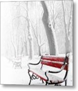 Red Bench In The Snow Metal Print