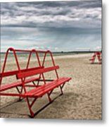 Red Bench On A Beach Metal Print