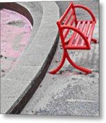 Red Bench Metal Print