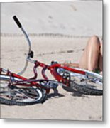 Red Bike On The Beach Metal Print