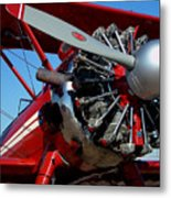 Red Biplane Metal Print