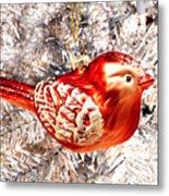 Red Bird White Tree Metal Print