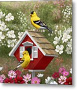 Red Birdhouse And Goldfinches Metal Print by Crista Forest