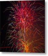 Red Blazing Fireworks Metal Print
