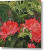 Red Blooms On The Parkway Metal Print