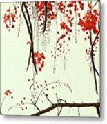 Red Blossom Tree On Handmade Paper Metal Print