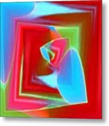 Red Blue Cubed Metal Print