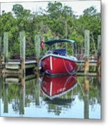 Red Boat Docked Florida Metal Print
