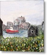 Red Boat In Peggys Cove Nova Scotia  Metal Print