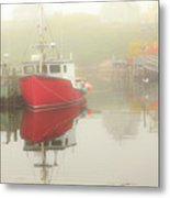 Red Boat In The Fog Metal Print