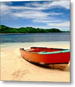 Red Boat On Beach Metal Print