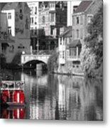 Red Boat On Water Metal Print