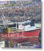 Red Boat Reflections Metal Print