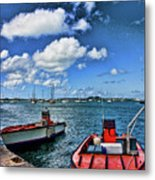 Red Boats At Blue Pier Metal Print
