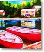 Red Boats At The Lake Metal Print