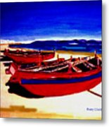 Red Boats Metal Print