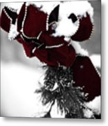 Red Bow In Snow Metal Print